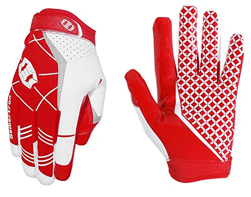 Seibertron Pro3.0 American Football Gloves Rugby Football Gloves Elite Ultra Stick Sport Receiver Youth Adult Sports Gloves (Red, Medium)