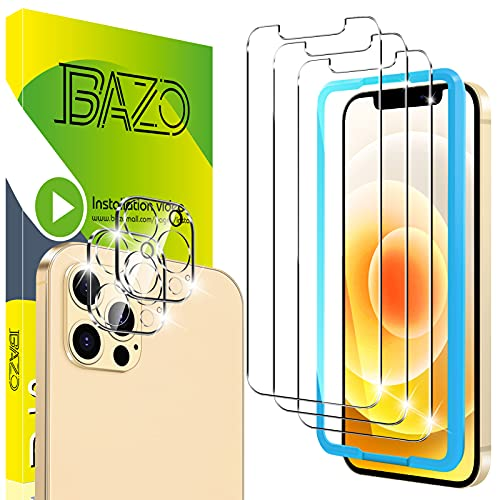 [3+2 Pack] BAZO Screen Protector for iPhone 12 Pro Max 6.7 inch -Tempered Glass + Camera Lens Protector with Easy Installation Frame -Anti-Scratch -Case Friendly - 9H Hardness - HD Clear