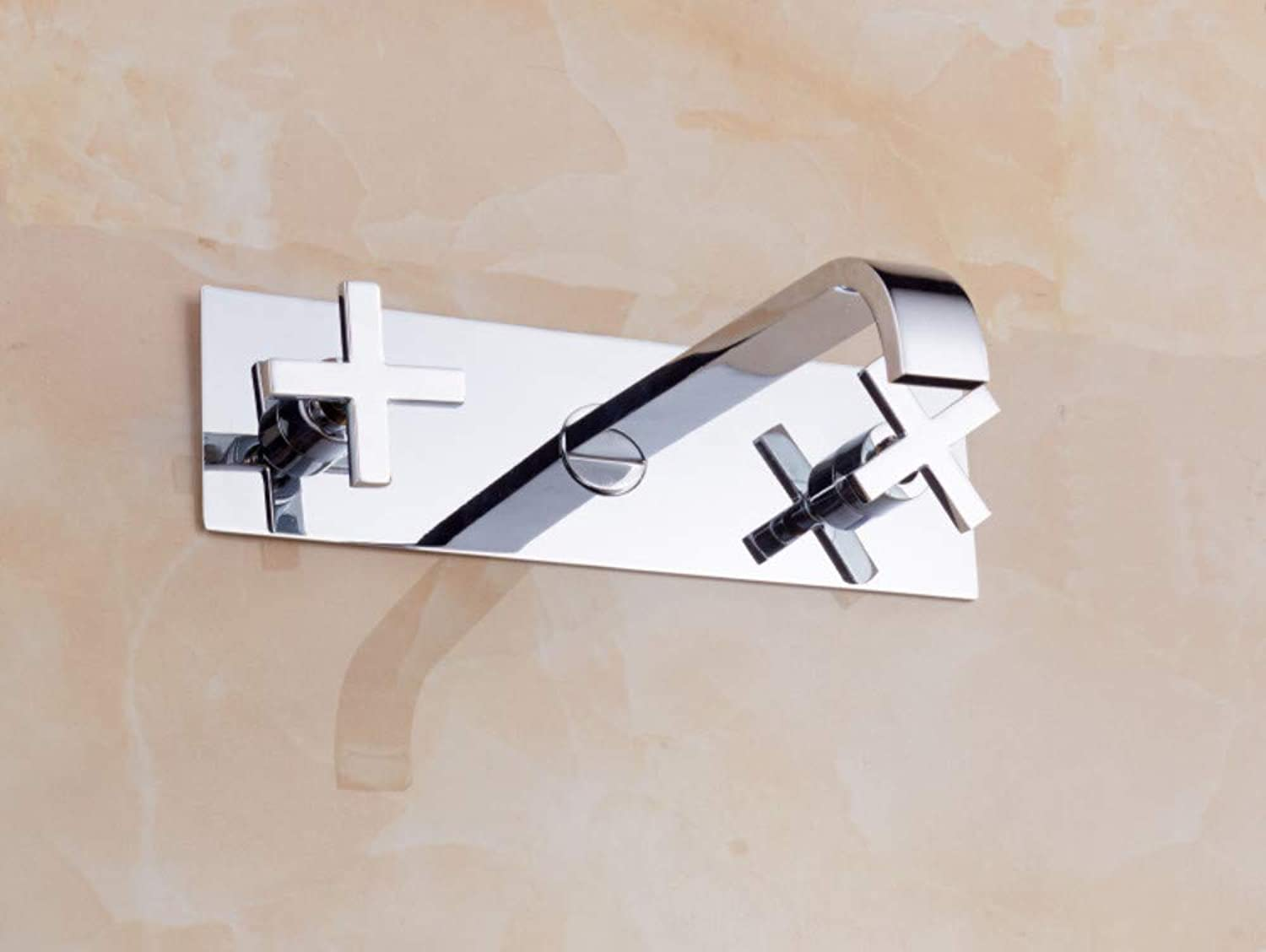 Kitchen Sink Taps Bathroom Sink Taps Copper Square Wall-Mounted Concealed Three-Hole Split Faucet Basin Faucet Conjoined Concealed Basin Faucet