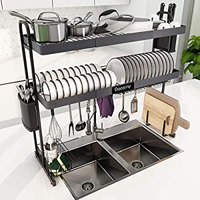 Over Sink Dish Drying Rack, Boosiny 2 Tier Stainless Steel Expandable Kitchen Dish Rack (27.5'' - 33.5''), Adjustable Large Dish Drainer Shelf with Utensil Holder, Over the Sink Storage Rack Organizer from