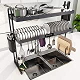 Over Sink Dish Drying Rack, Boosiny 2 Tier Stainless Steel Large Adjustable Kitchen Dish Rack(27.5'-33.5'), Expandable Dish Drainer Shelf Above Sink, Storage Shelves Organizer for Counter with 6 Hooks