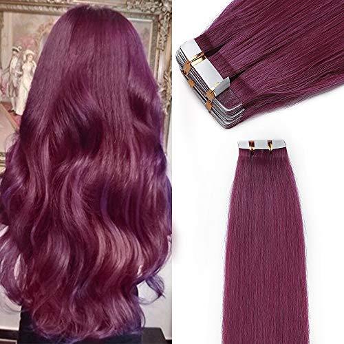 Elailite Extension Adesive Capelli Veri Biadesivo 40 Ciocche con Tape Biadesive 100% Remy Human Hair Naturali 35cm 80g #Viola