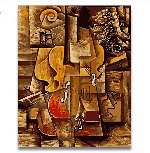 YUUWO Kleur Blokken Gitaar Abstract Olie Schilderen Kleurplaten Door Getallen Met Kits Op Canvas Picasso Schilderij Foto Voor Kinderen Leer Verf 40x50cm Framless