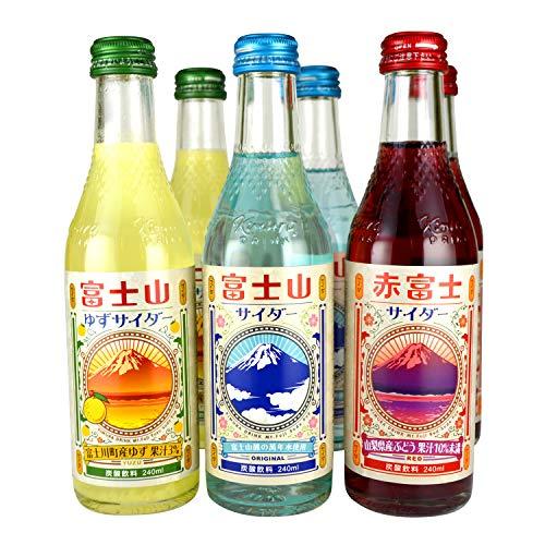 富士山サイダー (富士山・ゆず・赤富士(ぶどう)) 240ml 3種 6本セット 木村飲料 ご当地サイダー 瓶