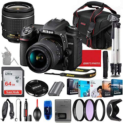 Nikon D7500 DSLR Camera with 18-55mm Lens Bundle + Premium Accessory Bundle Including 64GB Memory, Filters, Photo/Video Software Package, Shoulder Bag & More