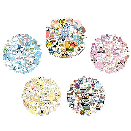 190Pcs VSCO Bottles Stickers for Hydro Flask Water Bottles or Laptop, Cute Variety of Sticker Packs of 5, Big Waterproof Decals for Kids Tumbler Mug Luggage (Yellow/Blue/Pink/Multicolour/Travel Style)