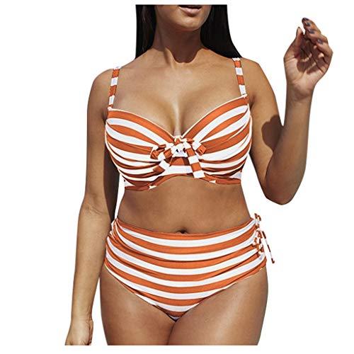 Fenverk Bikini Tankini Bademode Badeanzug Monokini Retro Groß Größe Sets Plus Size Bandeau High Waist Bikini Damen Bauchweg,Halter Rüschen Hoher Taille Zweiteilige Strandkleidung(B Orange,XL)