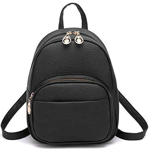 Barsine Teen Girl Small Bag PU Leather Multiple Zipper Pockets Mini Backpack Purse