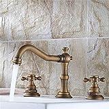 KANJJ-YU Grifería de 3 piezas de lujo para baño, lavabo, lavabo, grifo mezclador de cromo