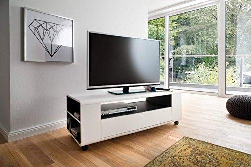 lifestyle4living TV-Lowboard, Lowboard, TV-Board, Fernsehtisch, TV-Schrank, TV-Bank, TV-Unterschrank, weiß, matt, MDF, anthrazit, Schubkästen, Rollen, 119/43/46 cm