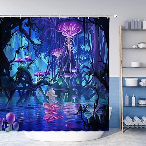 Duschvorhang mit Pilz-Quallen, magischer Wald, bunt, traumhaft abstrakte Pflanzen, Tiere, Wasserblumen, blau, lila, Badezimmer-Dekorationsset, Polyester