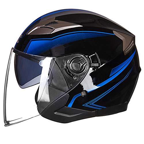 Casco de Moto Vintage Jet Clásico, Medio Casco de Moto Retro Abierto, con Gafas Integradas, Certificación Dot, Tamaño Ajustable(Endoscopio Marrone Scuro) F,M=55~57cm