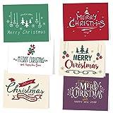 TUPARKA 30Pz Biglietto Auguri Natale con buste e adesivi da neve, 6 disegni natalizi