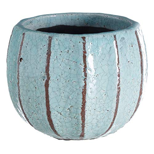 LOLAhome Macetero craquelado Envejecido rústico Azul de cerámica de ø 22x18 cm
