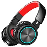 Picun 4 in 1 Wireless Bluetooth Headphones 25 Hours Playtime, Romantic LED HiFi Bass Foldable Headset with HD Mic, Soft Earmuffs, TF/Wired Mode for Smartphone PC TV Travel (Black Red)