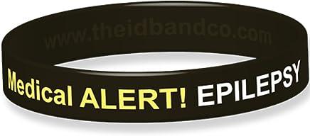 The ID Band Company Epilepsy Allergy Medical Alert Silicone Wristband, X-Large, Black, 1 Units