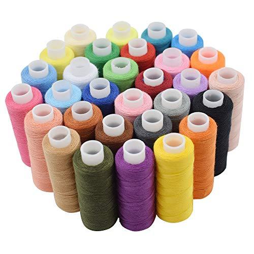 juego de 30 hilo de coser kit de hilo de poliéster multiusos, 250 yardas para coser a mano o a máquina