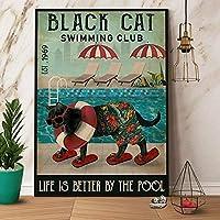 ブリキ メタル プレート サイン 2枚 猫のスイミングクラブの生活はプールでより良いですホームコーヒーバーのレトロな金属の錫の看板男の洞窟の壁の装飾ぶら下げアートワーク12inX 8in(30cm X 20cm)