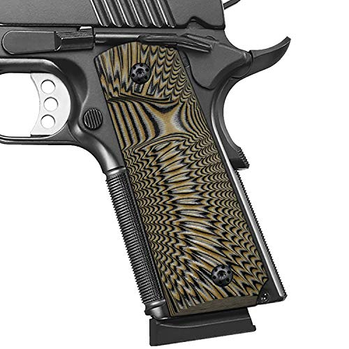 Cool Hand 1911 Full Size G10 Grips, Big Scoop, Ambi Safety Cut, Sunburst Texture, Coyote Color
