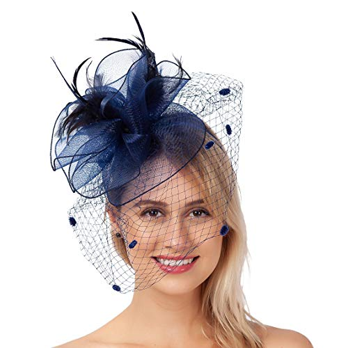 FELIZHOUSE Fascinators Hat Navy Blue Tea Party Headwear with Clip for Wedding Derby Headband Feather Mesh Flower Veil Headpiece for Women Girls