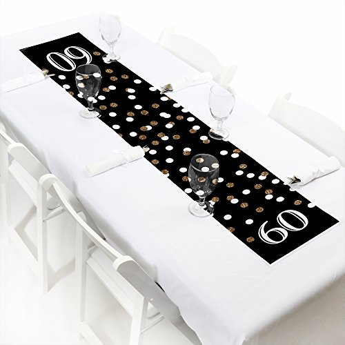 "Big Dot of Happiness Adult 60th Birthday - Gold - Petite Birthday Party Paper Table Runner - 12"" x 60"""