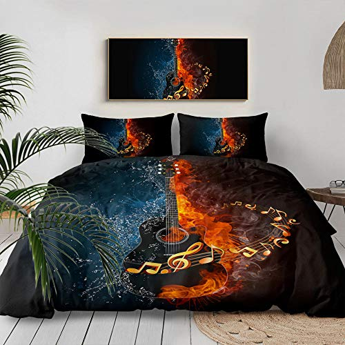 3D Bedding Set Printed,Creative Water Fire Guitar Music Melody Art,Printed Duvet Cover Set Cute Decorative 3 Pieces Teens Girls Boys Comforter Cover Pattern Quilt Cover Bedroom Decor,Us Queen 228