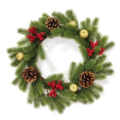 SMLJFO Corona de Navidad para puerta de 17.7 pulgadas de bayas rojas artificiales de pino corona colgante guirnalda de acebo coronas de Navidad ornamento decoración festiva de la chimenea