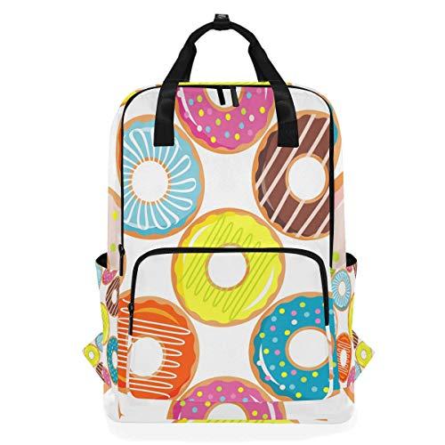 Colorido Donuts con Esmalte y aspersores Mochila de Estudiante Bolso de Hombro Escuela Elemental Bookbag para niños niñas