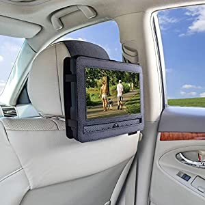 Car Headrest Mount Holder Strap for Swivel and Flip Style Portable DVD Player – 9 Inch to 9.5 Inch Screen
