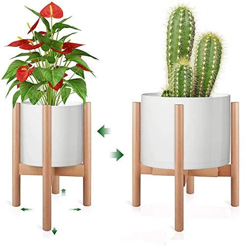 STLOVe Soporte para Plantas de Metal Soporte para Plantas Ajustable Soporte para macetas para Balcones de jardín Interiores y Exteriores (Excepto Plantas y macetas) (Marco de Madera telescópico)