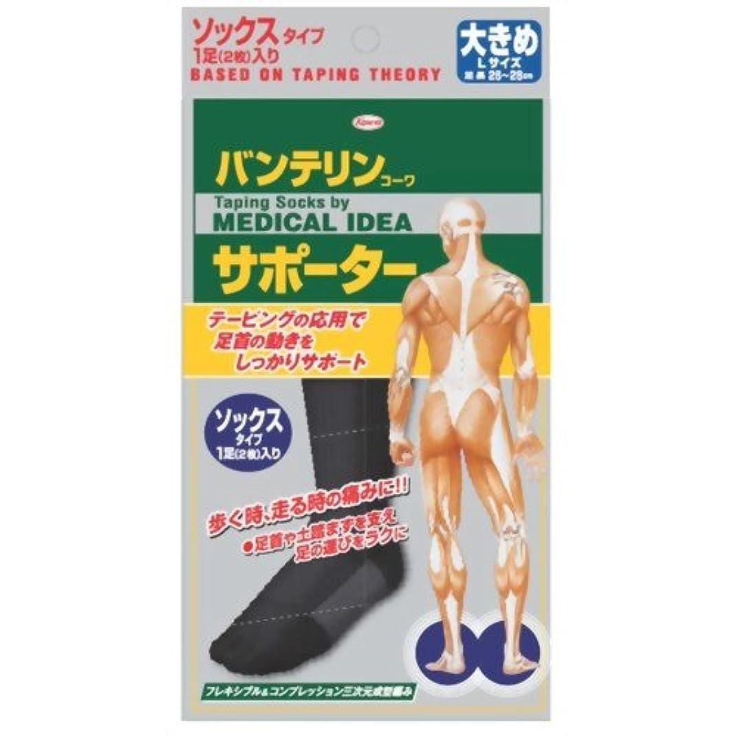 規制文親愛なバンテリンコーワサポーター ソックスタイプ ブラック 大きめ(26~28cm) 1足(2枚入)