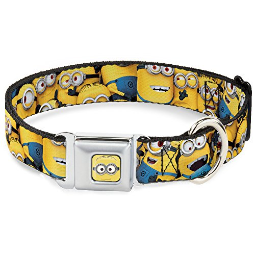 Dog Collar Seatbelt Buckle Despicable Me Minions Stacked Close Up 16 to 23 Inches 1.5 Inch Wide