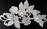 Patch Toppe Fiori bianco/crema adesive termoadesive ricamati da cucire grandi 18 x 9 cm