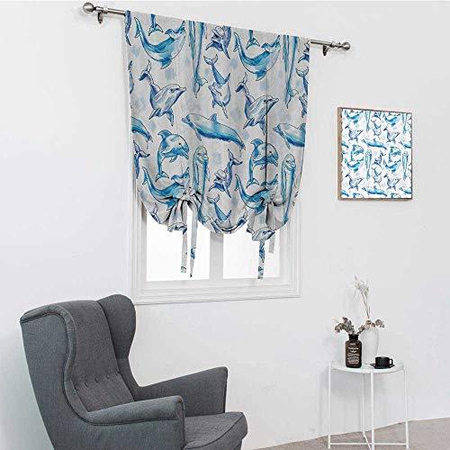 GugeABC Cortina de baño con diseño de animales marinos, diseño de delfines de botella, con impresión de risa en el océano, color blanco turqouise, 121,9 x 162,6 cm
