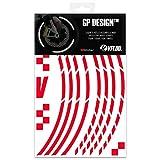 VFLUO GP Design™, Kit Bandes Jantes Moto rétro réfléchissantes (1 Roue), 3M Technology™, Liseret Largeur Normale : 7 mm, Rouge