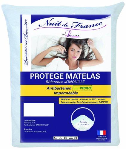 Nuit de France 329404 60/120 Protège Matelas Coton/PVC Blanc 120 x 60 x 1 cm