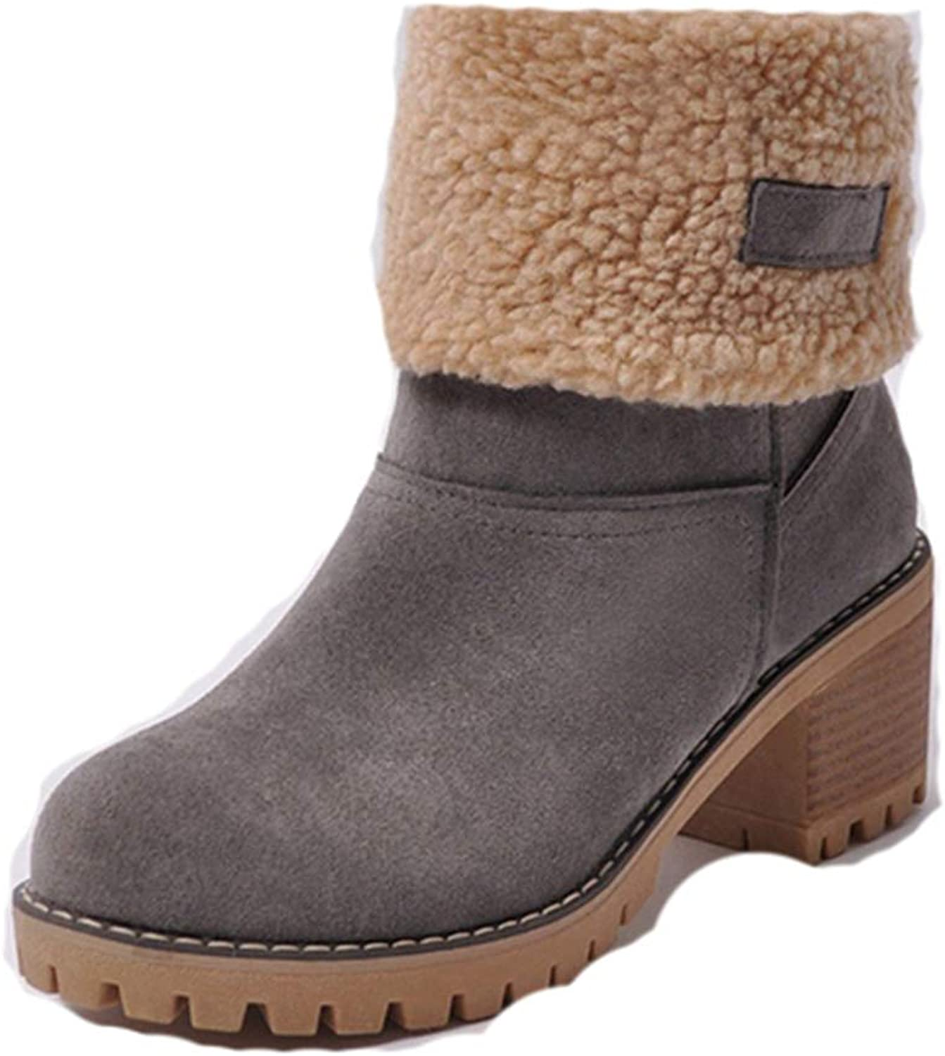Female Winter shoes Woman Fur Warm Snow Boots Fashion Square High Heels Ankle Boots Black Green Botas women