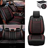 Tuqiang - Coprisedile auto per Mercedes-Benz A/B/C/E/S/R/G/ML-Class SL GLE GLK GLS GL GLLA, in pelle di lusso, impermeabile, compatibile con airbag, set completo standard nero rosso