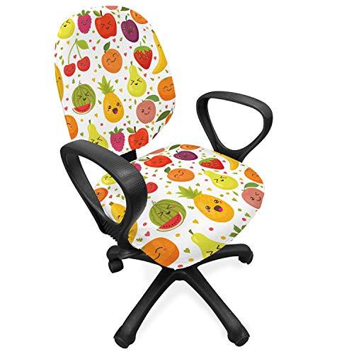 ABAKUHAUS fruit Hoes voor Bureaustoel, Banana Smile Thema van jonge geitjes, Decoratieve en Beschermende Hoes van Stretchstof, Veelkleurig