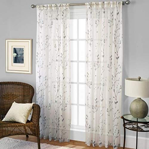 """Kensington Home Fashions Willow Pinch Pleat 29"""" W x 95"""" L,1 Sheer Back Tab Curtain Panel in Blue"""