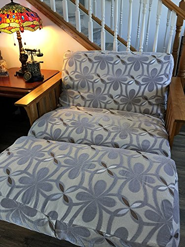 OctoRose Chenille Grey and Bonded Micro Suede Reversible 3 Side Zipper Futon Chair Cover 28x54+6