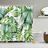 XCBN Árbol de Plantas Tropicales Mampara de baño Impermeable con Ganchos Cortinas de Ducha Cortina de baño para decoración de baño A46 90x180cm