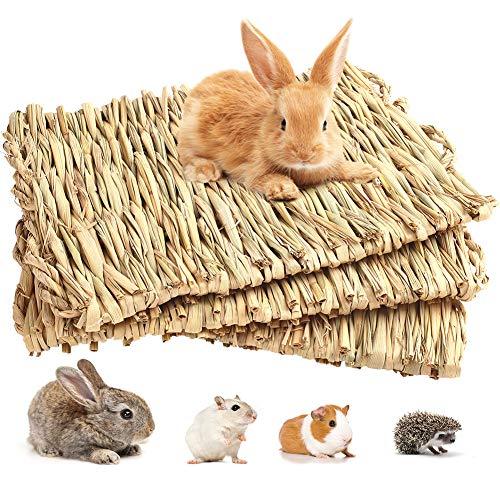 PrimePets Paquete de 3 esteras de Hierba de Conejo Estera de Cama Tejida para Animales pequeños Cama de Paja Natural Nido de Juguete masticable Juguete de Cama Hecho a Mano Juguete para Conejillo