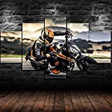 5 Piece Wall Art Painting 5 Panels Prints On Canvas The Framed 790 DUK Bike Motorcycle Pictures Canvas Wall Art for Home Decoration Modern Decoration Print Decor for Living Room Gift