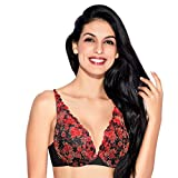 Enamor F085 Extended Neckline Cleavage Enhancer Plunge Push-up Bra - Padded Wired Medium Coverage - Red
