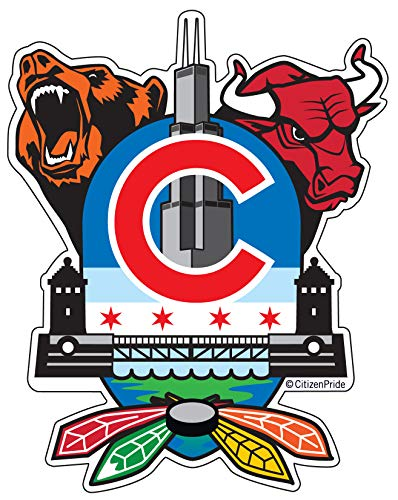 Chicago Sports Fan Crest, Sticker Decal die Cut Vinyl, 4x5