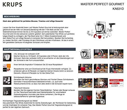 Krups Premium Küchenmaschine 17 teilig, 4,6L Edelstahlschüssel, Silikonschüssel, 4 Rührwerkzeuge Edelstahl, spülmaschinenfest, 1100W, Schnitzelwerk, Fleischwolf, Gratis Rezepte und 12er Cupcake Form - 18