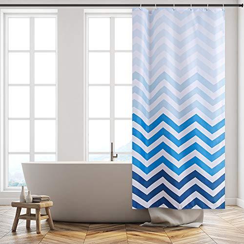 Furlinic Schmaler Duschvorhang für Eck Dusche und Kleine Badewanne Badvorhang aus Stoff Schimmelresistent Wasserdicht Waschbar Chevron Weiß Blau 80x180 mit 6 Duschringen.