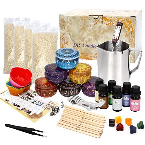 UHAPEER El kit de fabricación de velas incluye latas de velas, olla de fusión de cera, mechas de velas, colorantes