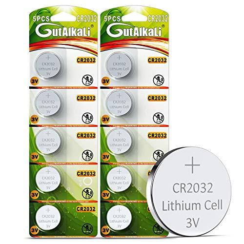 GutAlkaLi Batterie au Lithium CR 2032, Blister de 10 Piles Lithium 3V